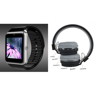 Zemini GT08 Smart Watch and SH 12 Bluetooth Headphone for LG k10 (GT08 Smart Watch with 4G sim card, camera, memory card |SH 12 Bluetooth Headphone )