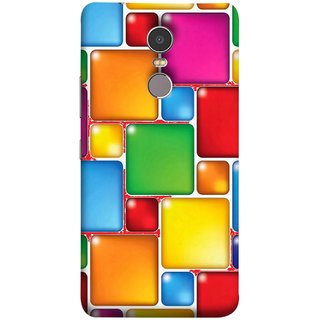 FUSON Designer Back Case Cover for Lenovo K6 Note (Glossy Mat Squares Small Honey Purple Red )