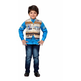 AJ Deziens Kids Party Wear Shirt Jeans and Jacket Clothing Set for Boys