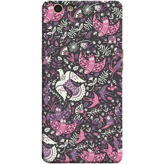 FUSON Designer Back Case Cover for Oppo F1s (Pink White Beige Colour Leaves Flowers Walldesign Gift )