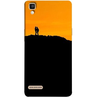 FUSON Designer Back Case Cover for Oppo F1 :: A35 (Friends Family Lovers Lovebirds Standing Rocks Evening)