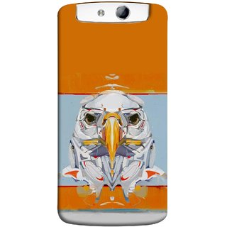 FUSON Designer Back Case Cover for Oppo N1 (Stearing Eyes Deadly Look Canvas Vision Bird Sky High)