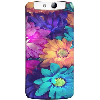 FUSON Designer Back Case Cover for Oppo N1 (Fresh Wow Hd Gerbera Flowers Pink Blur Orange)