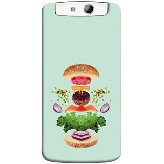 FUSON Designer Back Case Cover for Oppo N1 (Flying Burger Ingredients Onion Cheese Tomatos )