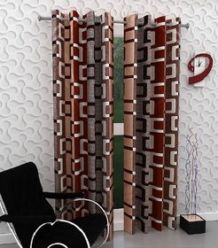 Peponi Maroon Polyester Abstract Window Curtains 5 Feet (1 Pc)
