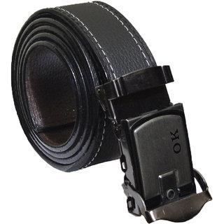 Sunshopping men's black leatherlite auto lock buckle belt combo (FFF-001) (Synthetic leather/Rexine)