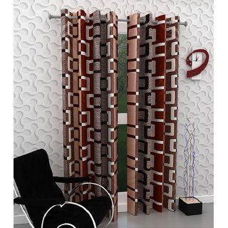 Peponi Maroon Polyester Abstract Window Curtains 5 Feet