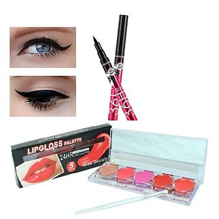 Kiss Beauty Waterproof Lip Gloss palette(5color) with 36H eyeliner(pack of-2)