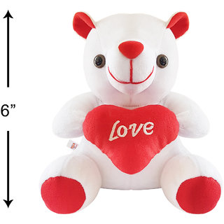 Ultra White Love Teddy Bear Stuffed Toy with Love Heart 6 Inches