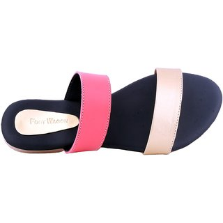 Foot Wagon Women s Synthetic Slippers Ladies Slippers Pink Slippers Casual  Slippers Chappals Pink Black c7fa920f9