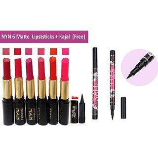 NYN Moisturzing Matte Lipstick (Pack of 6) + Free kajal with 36H Sketch pen eyeliner pencil