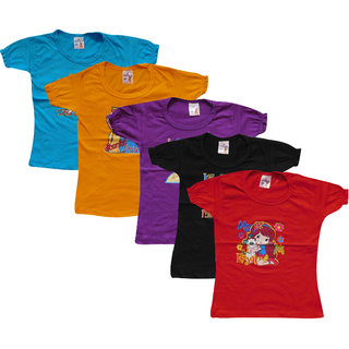 Jayavarshini Girls Round Neck Multicolor Cotton Top ( Pack of 5)