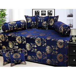Peponi Polycotton and Silk 8 Piece Diwan Set, Blue and Gold