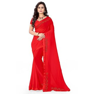 931d19e446 Buy Reeva Trend'zwomen's Georgette stone work red color saree with ...