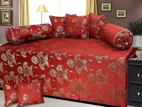 Peponi Polycotton and Silk 8 Piece Diwan Set, Maroon and Gold
