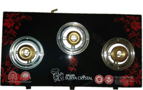 Surya Crystal auto ignition 3 Burner gas stove