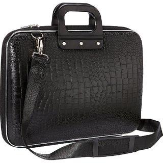 Black Laptop Bag 15.6 Crocodile Design Unisex for Women or Men Ultrabook Case