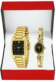 HWT Quartz Black Dial Gold Metal Strap Analog Couple Watch