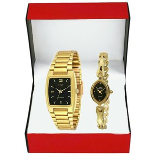 HWT Quartz Black Dial Gold Metal Strap Analog Couple Watch
