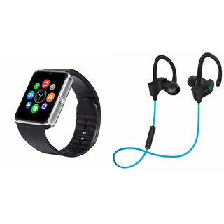 ClairbellGT08 Smart Watch and QC 10 Bluetooth Headphone for MICROMAX BOLT Q324(GT08 Smart Watch with 4G sim card, camera, memory card |QC 10 Bluetooth Headphone )