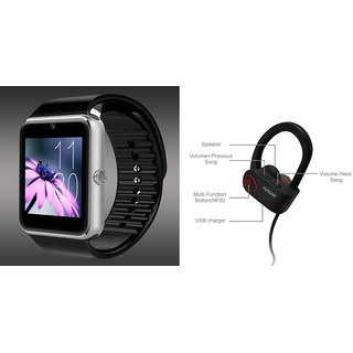 ClairbellGT08 Smart Watch and QC 10 Bluetooth Headphone for MICROMAX CANVAS SELFIE 2(GT08 Smart Watch with 4G sim card, camera, memory card |QC 10 Bluetooth Headphone )