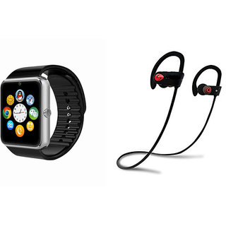 ClairbellGT08 Smart Watch and QC 10 Bluetooth Headphone for SAMSUNG GALAXY CORE PRIME 4G(GT08 Smart Watch with 4G sim card, camera, memory card |QC 10 Bluetooth Headphone )