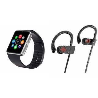 ClairbellGT08 Smart Watch and QC 10 Bluetooth Headphone for MICROMAX CANVAS WIN W092(GT08 Smart Watch with 4G sim card, camera, memory card |QC 10 Bluetooth Headphone )
