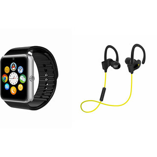 ClairbellGT08 Smart Watch and QC 10 Bluetooth Headphone for MICROMAX CANVAS WIN W121(GT08 Smart Watch with 4G sim card, camera, memory card |QC 10 Bluetooth Headphone )