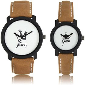 KDS King-Queen Brown Analog Couple Men And Women WAtch