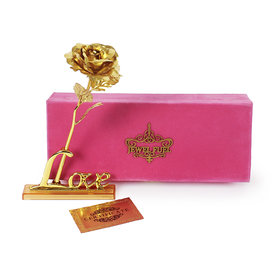 Valentines Day 24K Gold Rose 25 Cm With Love Stand And Velvet Gift Box