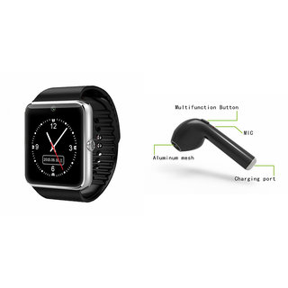 Mirza GT08 Smart Watch and HBQ I7R Bluetooth Headphone for ASUS ZENFONE GO 4.5(GT08 Smart Watch with 4G sim card, camera, memory card  HBQ I7R Bluetooth Headphone  )
