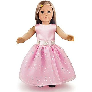 Ebuddy Pink Fashion Doll Long Dresses Clothes Fits 18 Inch Doll