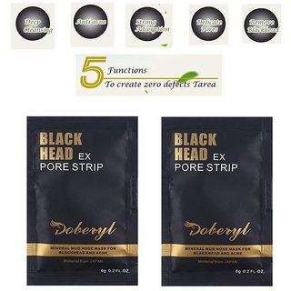 Doberyl 2 Pack 12g EX Pore Strip Facial Blackhead Remover Mineral Face Mask Cream 40 gm Pack of 2