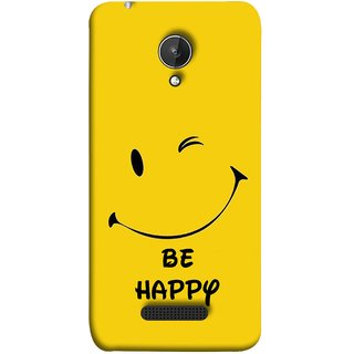 FUSON Designer Back Case Cover for Micromax Canvas Spark Q380 (Yellow Background Cute Smiling Smiley Big Smile)
