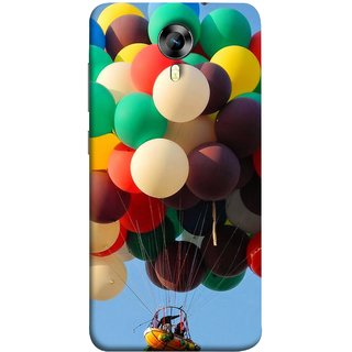 FUSON Designer Back Case Cover for Micromax Canvas Xpress 2 E313 (Up Up Sky Blue Colourful Balloons Boat Man )