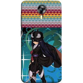 FUSON Designer Back Case Cover for Micromax Canvas Xpress 2 E313 (Blue Background Woman Standing Holding Warrior Fantasy)