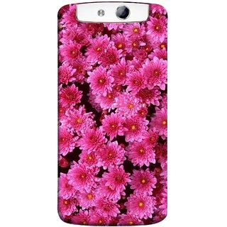 FUSON Designer Back Case Cover for Oppo N1 (Thousands Flowers Magenta Mums Nature Pink)
