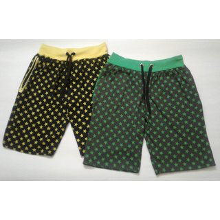 Nimalan's star Print Mens's shorts with zip packet L size-Black and Grey colour(Pack of two)