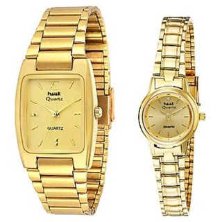 Hwt rectangle+round mens and womens Couple Watch combo pack