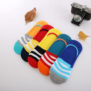 DDH Unisex Cotton Stripe Loafer Socks (Pack Size 5)-New Stripe Multicolor