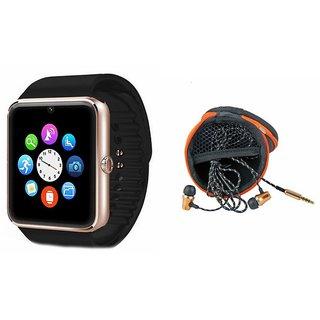 Mirza GT08 Smart Watch and Earphone  for MICROMAX CANVAS L(GT08 Smart Watch with 4G sim card, camera, memory card |Earphone )
