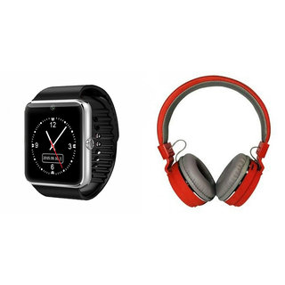 Mirza GT08 Smart Watch and SH 12 Bluetooth Headphone for PANASONIC GD3 1(GT08 Smart Watch with 4G sim card, camera, memory card |SH 12 Bluetooth Headphone )