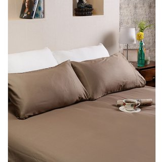 Manachal cotton satin double bed sheet with double pillows in brown color