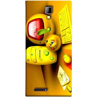 FUSON Designer Back Case Cover for Micromax Canvas Xpress A99 :: Micromax A99 Canvas Xpress (Animation Bomb Red Screen Computer Table )
