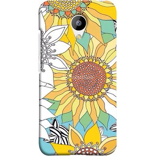 FUSON Designer Back Case Cover for Meizu M3 (Sunflowers Flowers Green Grass Beautiful Painting Canvas)