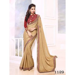 Priyanka Women's Chiffon Fancy Thread Work Saree (Latest Designer Sarees /Party wear sarees /New collection sarees) SUNSAF1129Beige