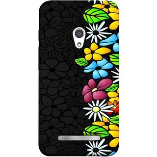 FUSON Designer Back Case Cover For Asus Zenfone 5 A501CG (Multicolour Flowers Phul Gray Geen Leaves Beautiful)