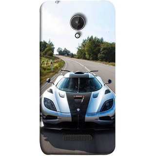 FUSON Designer Back Case Cover for Micromax Canvas Spark Q380 (Clouds Beautiful Silver Sports Car Led American Cars)