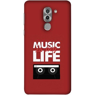 FUSON Designer Back Case Cover For Huawei Honor 6X (Black And White Songs Poems Musical Events Listen)