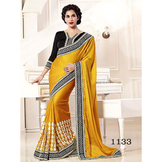 Priyanka Women's Chiffon Fancy Thread Work Saree (Latest Designer Sarees /Party wear sarees /New collection sarees) SUNSAF1133Yellow